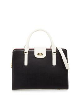June Colorblock Leather Tote Bag, Black/White