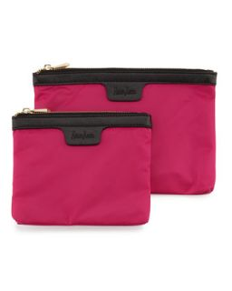 Two Piece Saffiano Trim Nylon Cosmetic Bag Boxed Set, Pink