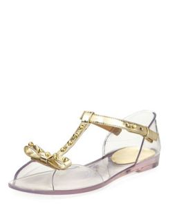 Nifty Jelly Flat Sandal, Clear/Gold
