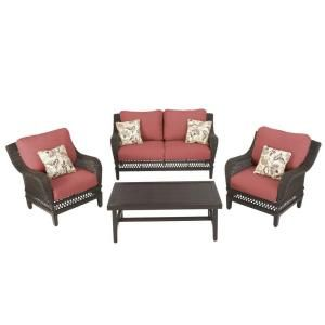 Hampton Bay Woodbury 4 Piece Patio Seating Set with Dragon Fruit Cushions DY9127 4 R