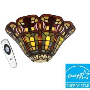 Its Exciting Lighting Wall Mount Stained Glass Floral Half Moon Battery Operated 3 LED Wall Sconce AMB3002