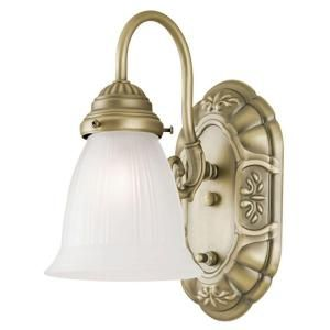 Westinghouse 1 Light Oyster Bronze Interior Wall Fixture with On/Off Switch and Frosted Ribbed Glass 6751200
