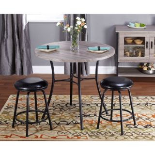 Jaxx Collection 3 Piece Adjustable Height Dining Set with Backless Barstools, Multiple Colors Furniture