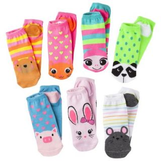 Xhilaration Girls 7pk Low Cut Animal Face Socks  Assorted 3 10