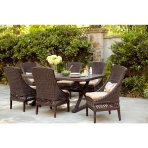 Hampton Bay Woodbury 7 Piece Patio Dining Set with Textured Sand Cushions D9127 7PC
