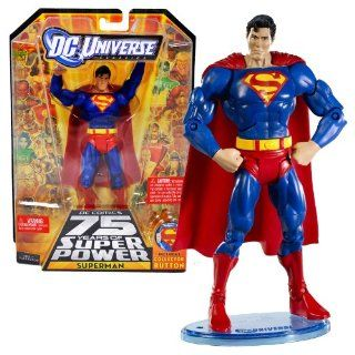 "Mattel Year 2009 DC Universe ""DC Comics 75 Years of Super Power"" Classics All Star Series 6 Inch Tall Action Figure #2   SUPERMAN with Figure Display Stand Plus Collector Button (R5773) Toys & Games"