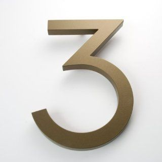 "Modern House Number Bronze Color Aluminum Modern Font Number Three ""3"" 6 inch  Address Plaques  Patio, Lawn & Garden"