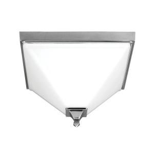 Sea Gull Lighting Denhelm 2 Light Chrome Ceiling Flush Mount with Inside White Painted Etched Glass 7550402 05