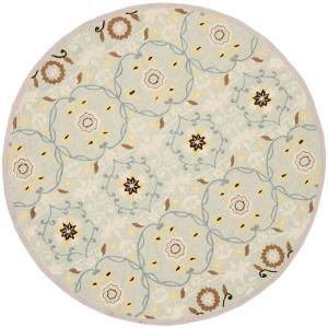 Safavieh Chelsea Light Blue/Ivory 5.5 ft. x 5.5 ft. Round Area Rug HK727C 5R