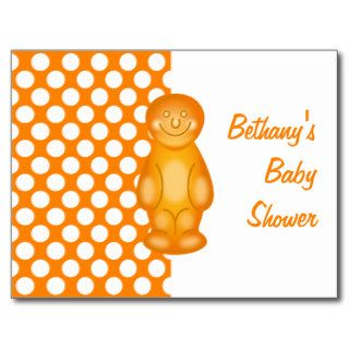 Cute Orange Polka Dots Jelly Baby Shower Announce Post Cards