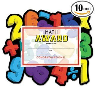 "Southworth Motivations Numbers ""Math"" Certificate Award Kit and Holder, 8.5 X 5.5, 10/pk Science Lab Cleaning Supplies"