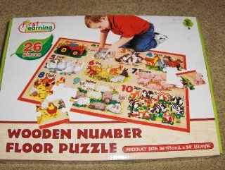"First Learning 26 Pieces Wooden Number Floor Puzzle 36""x24"" Toys & Games"