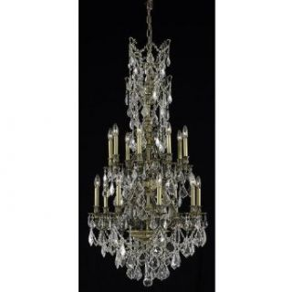 Elegant Lighting 9616d27ab/Rc Monarch 16 Light Dining Chandelier In Antique Bronze With Royal Cut Clear Crystal