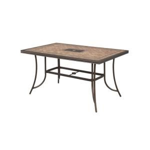 Hampton Bay Westbury Rectangular Tile Top Patio High Dining Table ANQ05117K01