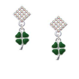 Mini Green Heart Leaves Four Leaf Clovers AB Crystal Diamond Shaped Lulu Post Jewelry