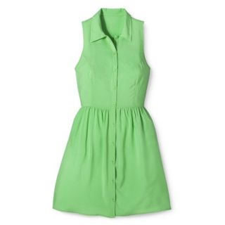 Merona Womens Woven Sleeveless Shirt Dress   Pristine Green   14