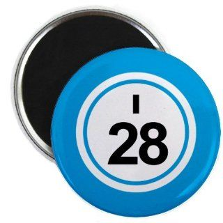 Bingo Ball I28 TWENTY EIGHT Blue 2.25 inch Fridge Magnet  Refrigerator Magnets