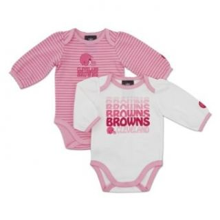 NFL Cleveland Browns Girl's Long Sleeve Bodysuit Set (2 Pack), 18 Months, Pink  Infant And Toddler Sports Fan Apparel  Clothing