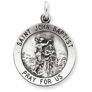Sterling Silver Antiqued Saint John the Baptist Medal Pendants Jewelry