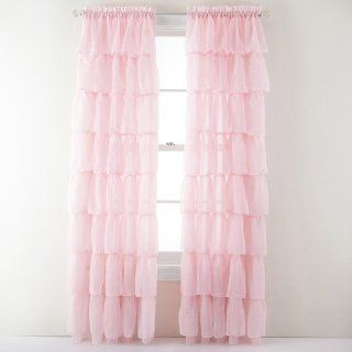 Lorraine Home Fashions Gypsy Shabby Chic Layered Ruffle Window Curtain Panel, 60 by 63 Inch, Pink   Window Treatment Panels