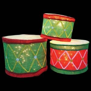 Candy Cane Lane Pre Lit 3D Soft Tinsel Drums (Set of 3) DISCONTINUED 40040