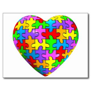 Autism Puzzle Heart Post Card