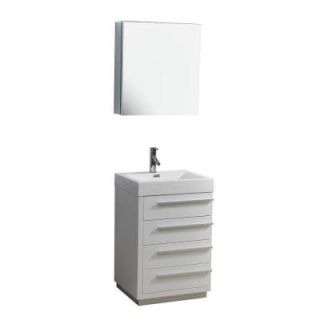 Virtu USA Bailey 22 3/8 in. Single Basin Vanity in Gloss White with Poly Marble Vanity Top in White and Medicine Cabinet Mirror JS 50524 GW