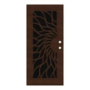 Unique Home Designs Sunfire 36 in. x 80 in. Copperclad Left Hand Outswing Surface Mount Aluminum Security Door with Charcoal Insect Screen 1S2001EL2CCISA