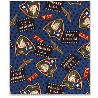 "ELVIS PRESLEY ""PRESLEY U.S.A. ARMY SOLDIER"" on Navy Blue Fabric (Great For Quilting, Sewing, Craft Projects, Curtains, Pillows, etc.) 2 Yards"