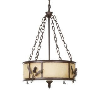 Hampton Bay Lodge Collection 3 Light Hanging Weathered Spruce Multi Light Pendant 17183