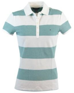 Tommy Hilfiger Slim Fit Womens Striped Logo Polo Shirt   S   Green/White