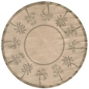 Direct Home Textiles Palm Trees Sage 8 ft. Round Indoor/Outdoor Area Rug DISCONTINUED 6779 9696 447
