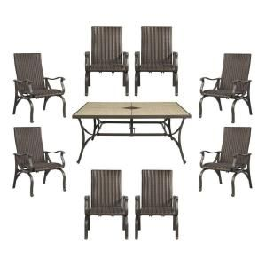 Hampton Bay Pembrey 9 Piece Patio Dining Set with Lumbar Pillows HD14227