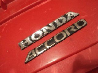 """Honda Accord"" BLACK CHROME Emblem Decal Badge Script nameplate SET OF 2 Automotive"