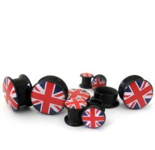 "(3/4"" ~ 20mm) 1 Pair of British Flag Ear Gauges Plugs Jewelry"