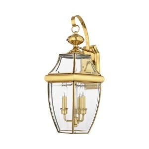 Filament Design 3 Light 13.00 in. Outdoor Polished Brass Clear Glass Wall Mount Light CLI GH8009208