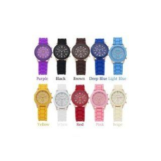 12 Colors GENEVA Soft Silicone Band Quartz Movement Watch with Number Scale/Round Dial   BY KSSHOPPING  Vehicle Tv Tuners