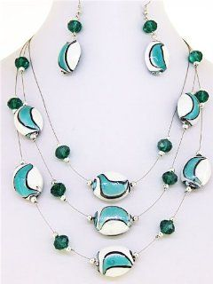 Fashion Jewelry ~ Blue and White Ceramic Oval Beads with Round Silver Beads Necklace and Earring Set Jewelry
