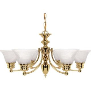 Glomar Empire 6 Light Polished Brass Chandelier with Alabaster Glass Bell Shades HD 357