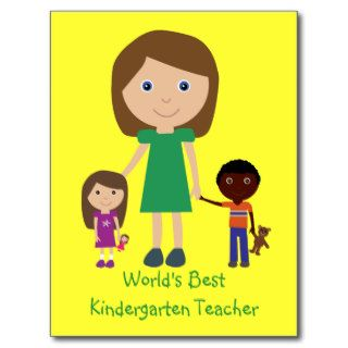 World's Best Kindergarten Teacher Cute Cartoon Post Cards