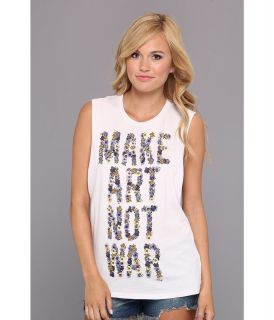 Obey Make Art Not War Floral Moto Tank Womens Sleeveless (White)