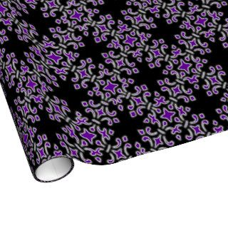 Vintage Damask Purple Black Gift Wrapping Paper