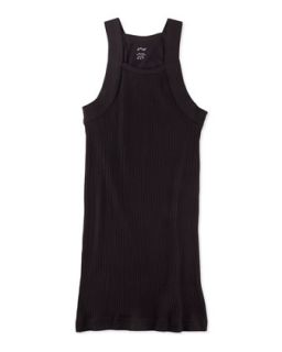 Two Pack Square Cut Ribbed Knit Tank, Black