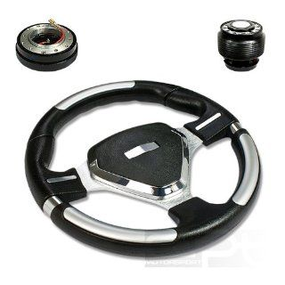 "SW T220+HUB OH124+QL 2, 320mm 12.5"" Black PVC Leather Silver Spoke 6 Hole Racing Aluminum Steering Wheel with OH124 Short Hub Adapter and 2"" Slim Quick Release with Horn Button Automotive"