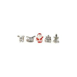 Lovelinks by Aagaard Sterling Silver Merry Christmas Collection Murano Glass Bead Set For Charm Bracelets Lovelinks by Aagaard Jewelry