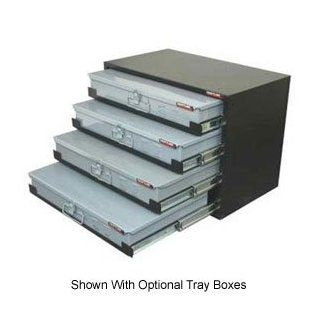 Heavy Duty Ball Bearing Slide Service Tray Rack   4 Drawer, Black   Cabinet And Furniture Drawer Slides