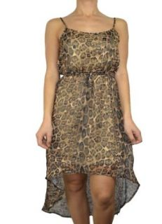 143Fashion Ladies Fashion High Low Front Leopard Print Dress, Brown, Small