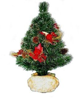 National Tree Company SZFX7 149 18 18 Inch Fiber Optic Fireworks Tree with Red Apples, Cones and Fiberglass Lighted Pot   Multi Wheel   Christmas Trees