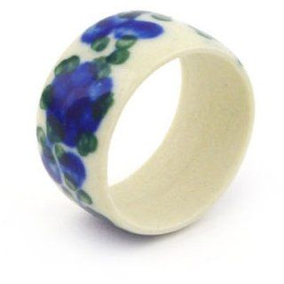 Polmedia Polish Pottery 1 inch Stoneware Ring H6175F Hand Painted from Ceramika Artystyczna in Boleslawiec Poland. Shape S965D(C10) Pattern P1376A(163)   Kitchen Linens