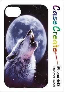 Howling Wolf Moon Decorative Sticker Decal for your iPhone 4 4S Lifeproof Case